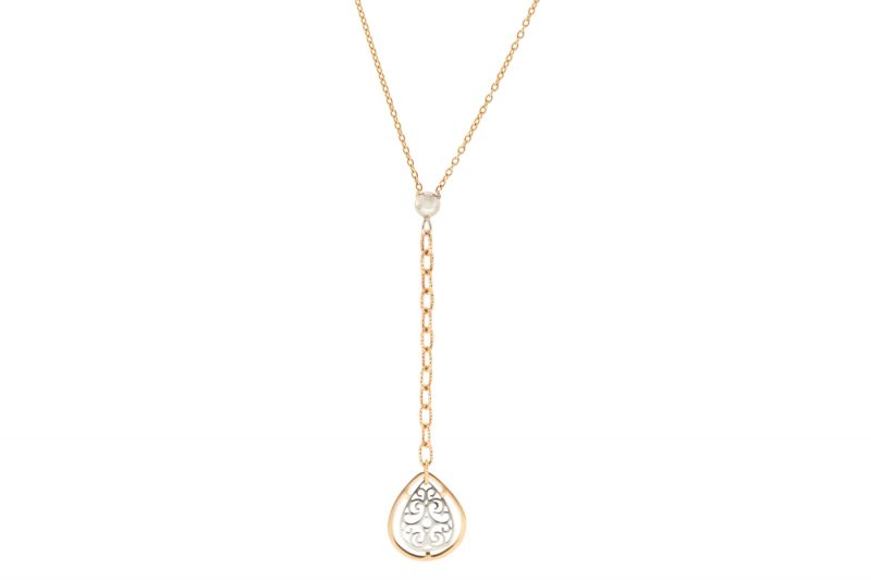 Gold | Rose gold necklace with teardrop pendan| For Women