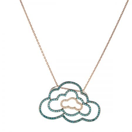 Cloudy | Triple-cloud blue-green pendant | For Women