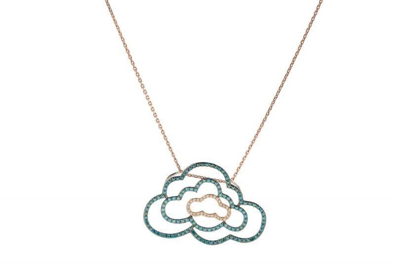 Cloudy | Triple-cloud blue-green pendant | For Women