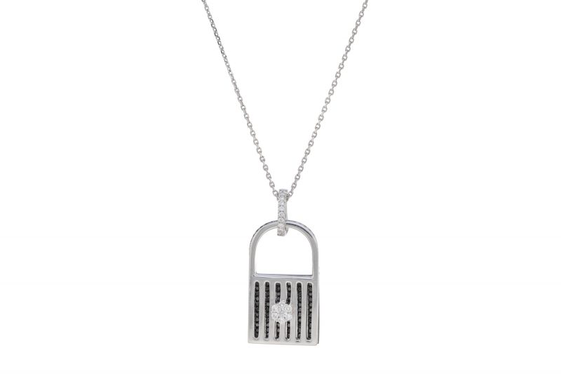 Unlock My Heart | White gold pendant with black diamonds  | For Women