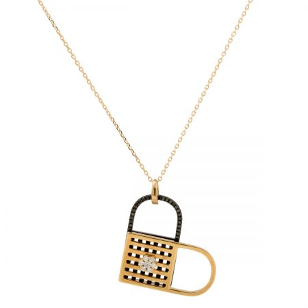 Unlock My Heart | Rose gold pendant with black diamonds  | For Women