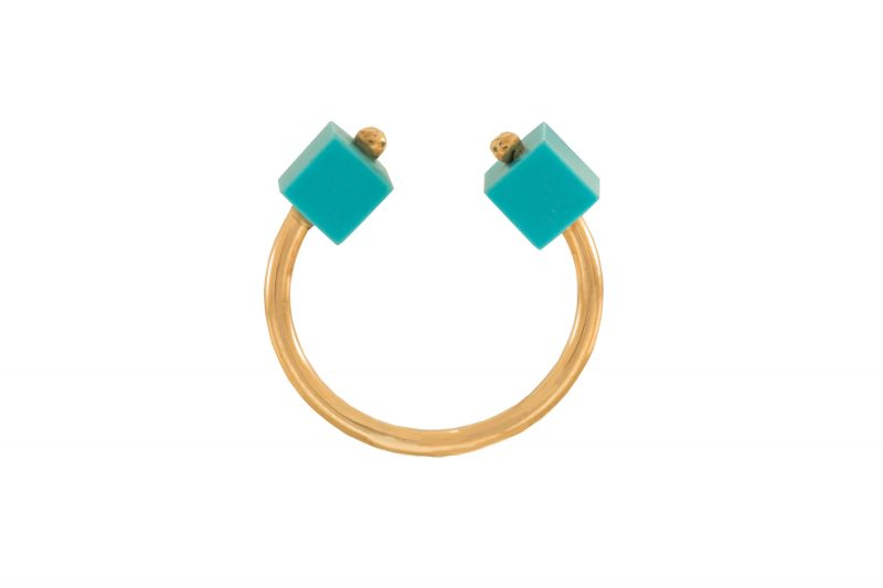 Cube | Rose gold ring with two turquoise cubes | For Women