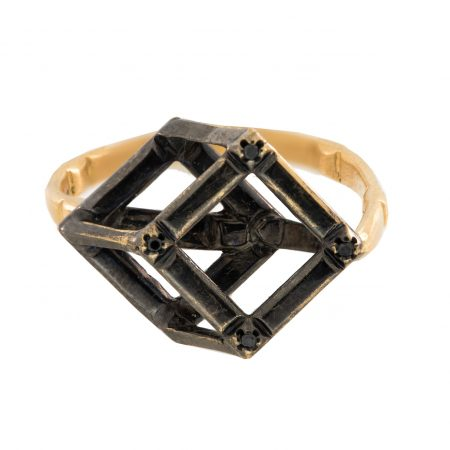 Cube   Rose gold ring with black gold cube   For Women