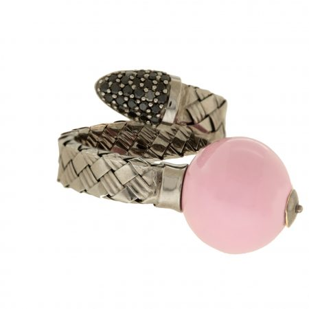 Bonbon | White gold ring with pink ball | For Women
