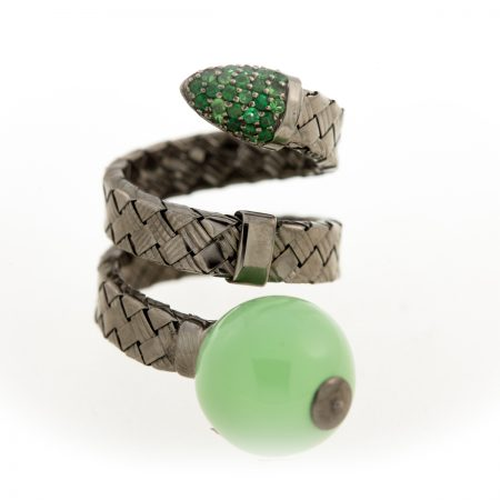 Bonbon | White gold double row ring with green ball | For Women