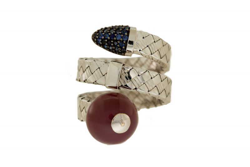 Bonbon | White gold double row ring with purple ball | For Women