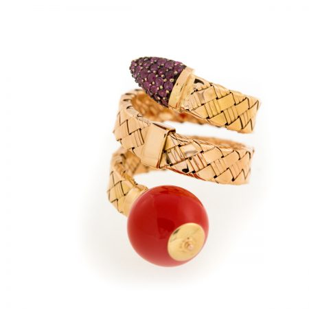 Bonbon | Rose gold double row ring with red ball | For Women