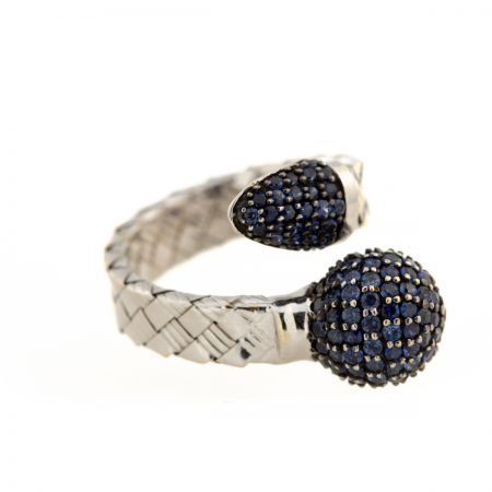 Bonbon | White gold ring with dark blue ball and diamonds | For Women