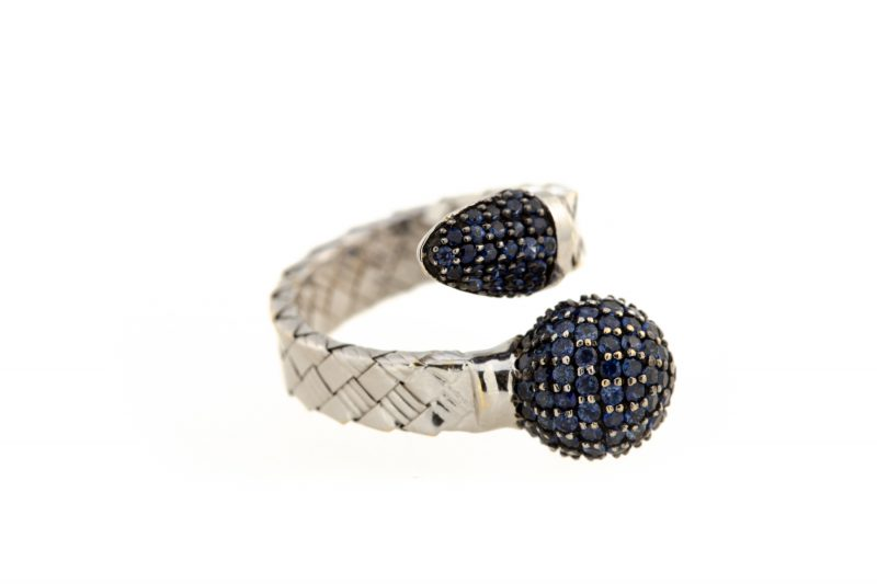 Bonbon   White gold ring with dark blue ball and diamonds   For Women
