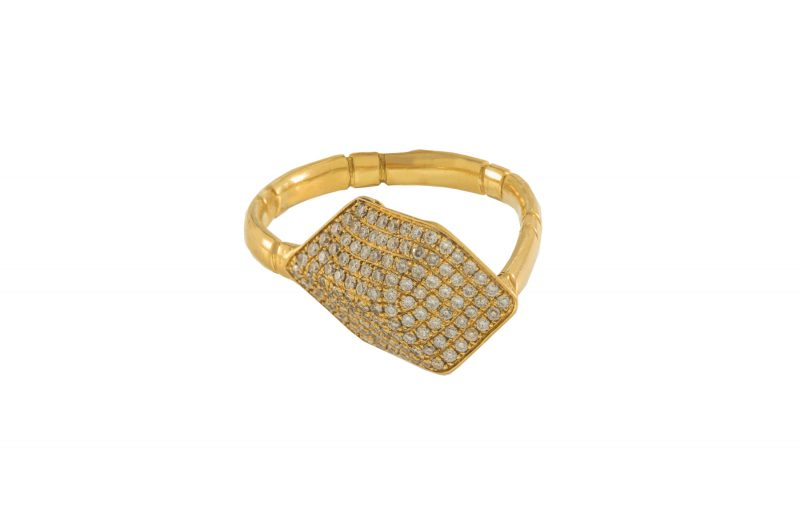 Cube | Yellow gold ring with diamond cubes | For Women