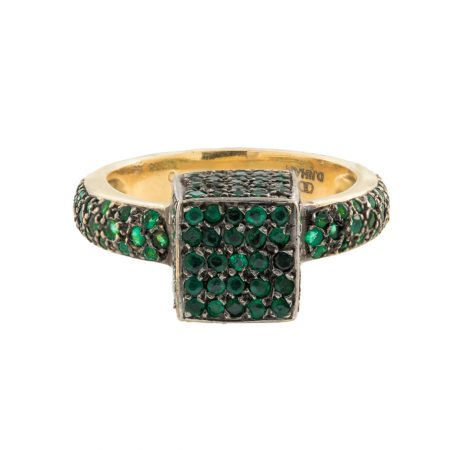 Cube | Rose gold ring with green diamonds | For Women