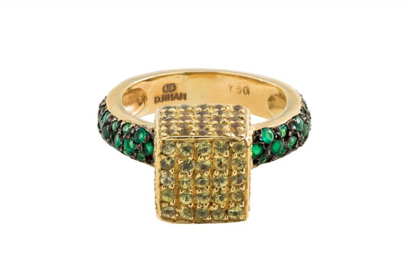 Cube | Rose gold ring with green and yellow diamonds | For Women
