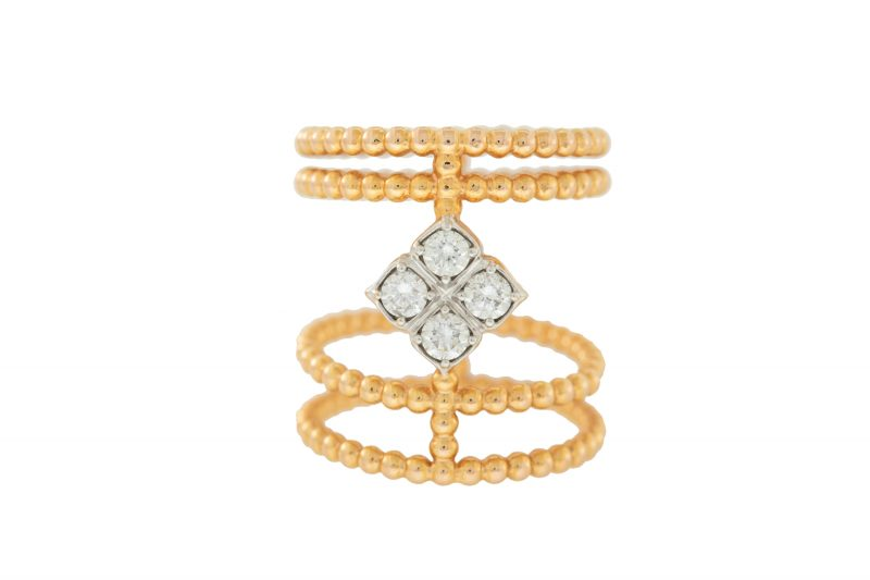 Bubble | Yellow gold ring with diamonds | For Women