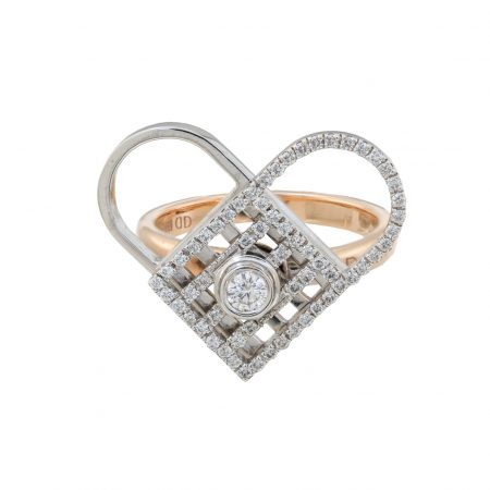Unlock My Heart | Rose gold ring with white diamonds | For Women