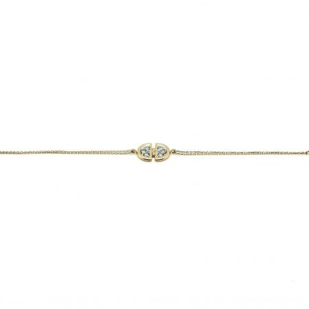 Ladybug | Yellow gold chain bracelet with DD diamonds | For Women