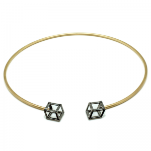 Cube | Yellow gold choker with two black cubes | For Women