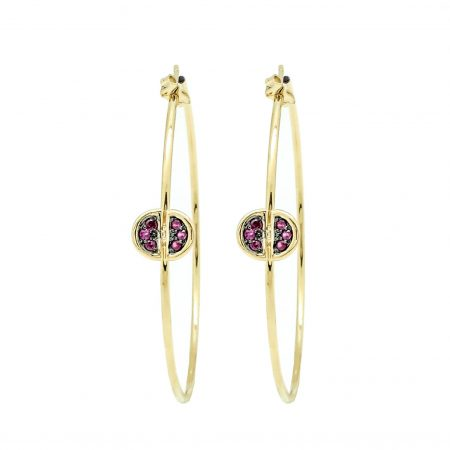 Ladybug | Yellow gold hoop earrings with purple diamonds | For Women