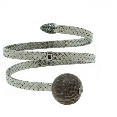 Bonbon | White gold bracelet with black wooden ball | For Women
