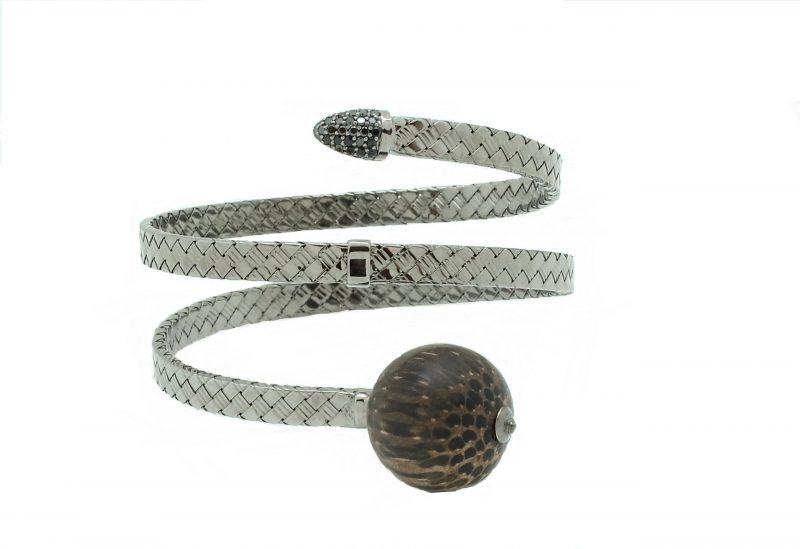 Bonbon | White gold bracelet with black wooden ball | For Women