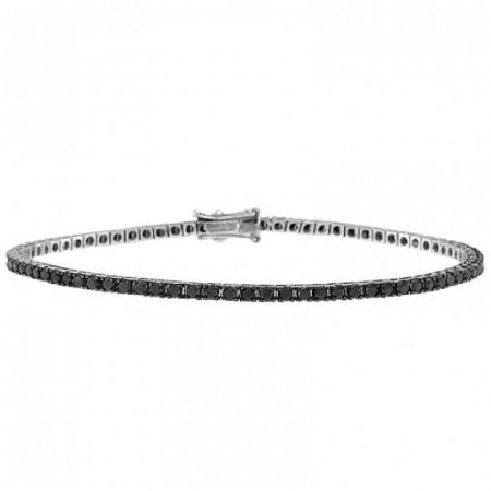 Tennis | White gold bracelet with black diamonds | Men