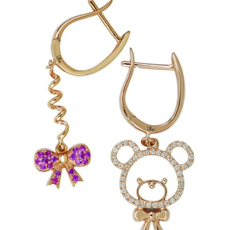 Mini U | Rose gold Teddy bear and Ribbon earrings | For Women