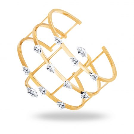 Waterfall   Gold cuff bracelet with Pearls   For Women